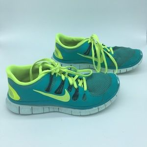 Nike Free 5.0 - Teal and Yellow - women's size 8